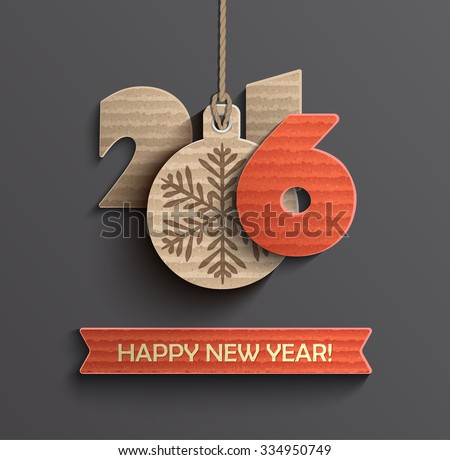 Creative happy new year 2016 design. Vector illustration. - stock vector