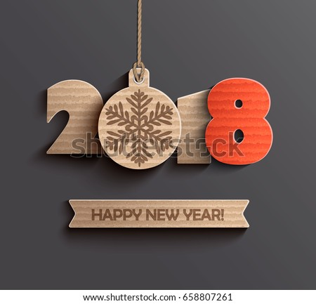 Creative happy new year 2018 design. Vector illustration.