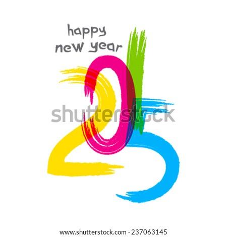 creative happy new year 2015 greeting design vector - stock vector
