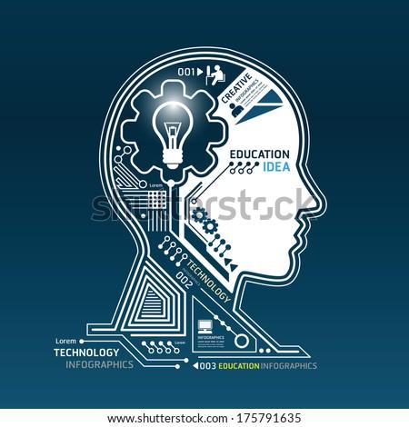Creative head abstract circuit technology infographic.vector - stock vector
