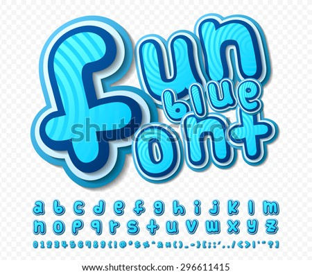 Creative high detail comic font. Alphabet in style of comics, pop art. Multilayer funny colorful 3d letters in a blue color and figures for of kids' illustrations, websites, posters, comics, banners - stock vector