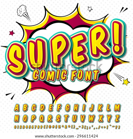 Creative High Detail Comic Font Alphabet In Style Of Comics Pop Art Multilayer