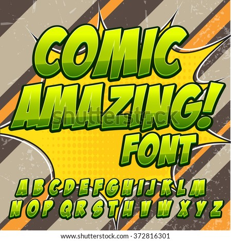 Creative high detail comic font. Alphabet in the green color style of comics, pop art. Letters and figures for decoration of kids' illustrations, websites, posters, comics and banners. - stock vector