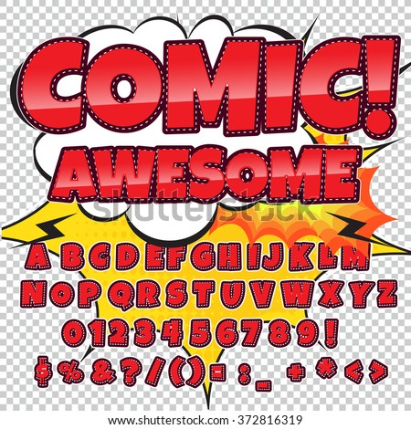 Creative high detail comic font. Alphabet in the style of comics, pop art. Letters for decoration of kids' illustrations, comics and banners. Easy to use for works. - stock vector