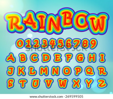 Creative high detail font for your design. Rainbow alphabet and numbers. Kids colorful letters. Vector illustration - stock vector