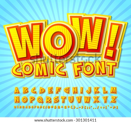 Creative high detail yellow-red comic font. Alphabet in style of comics, pop art. Multilayer funny colorful 3d letters and figures for kids' illustrations, comics, banners.  - stock vector