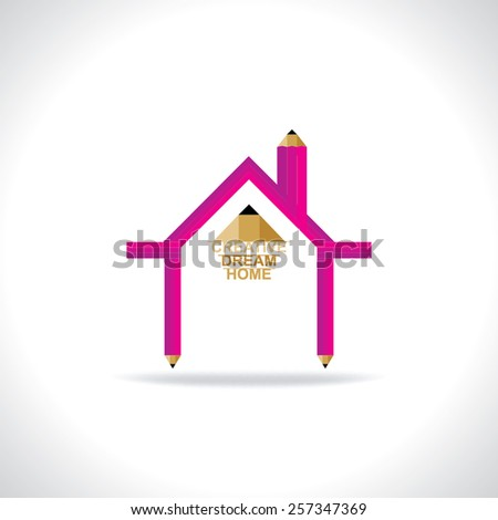 creative home created by pencil home concept - stock vector