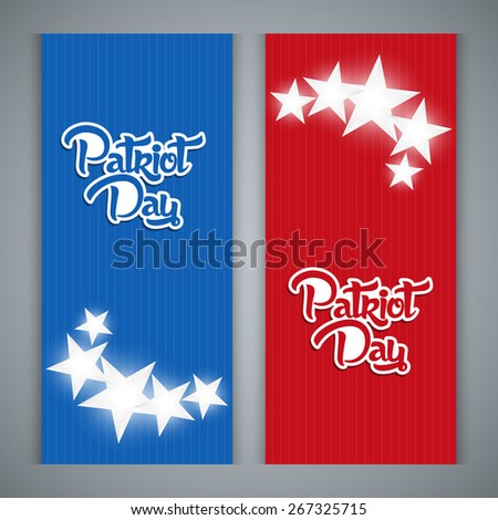 Creative Horizontal banner for Patriot Day with nice red and blue colour and multiple stars.  - stock vector