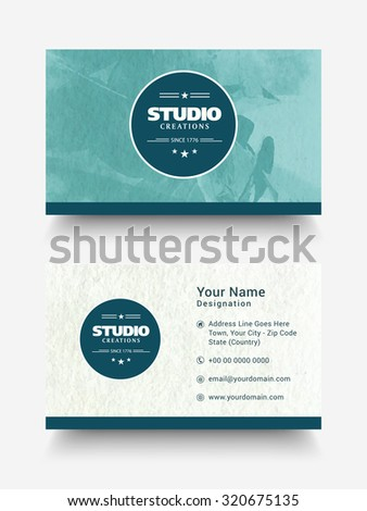 Creative horizontal business card, visiting card or name card set with front and back side presentation. - stock vector