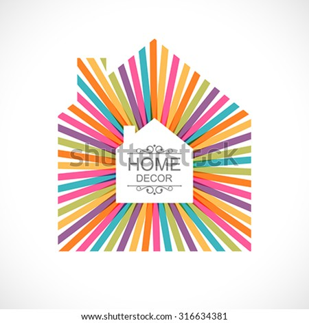 Creative house decoration with colorful abstract ribbons. Global colors - easy to change. - stock vector