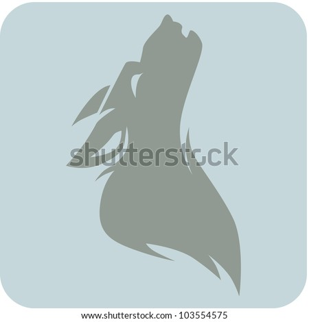 Creative Howling wolf Icon - stock vector