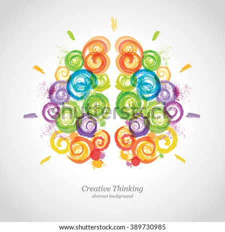 Creative Human Brain in the Work. Conceptual Vector Background for Business and Education.  - stock vector