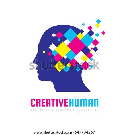 Creative Human Head Vector Logo Template Stock Vector