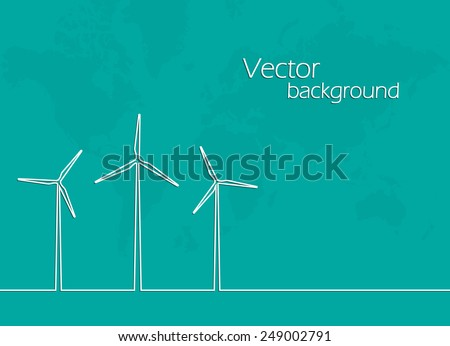 creative idea concept template . line in the form of a windmill. vector background . flat design - stock vector
