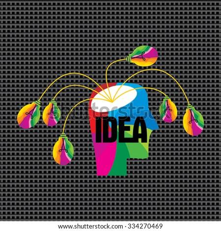 creative idea concept with human head vector  - stock vector