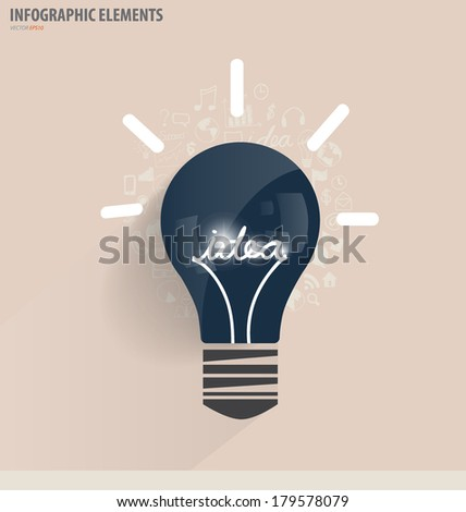 Creative idea in Light bulb as inspiration concept with drawing chart and graphs business strategy plan concept idea, vector illustration - stock vector