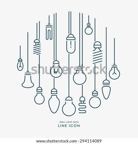 creative idea light bulb line icons infographic vector - stock vector