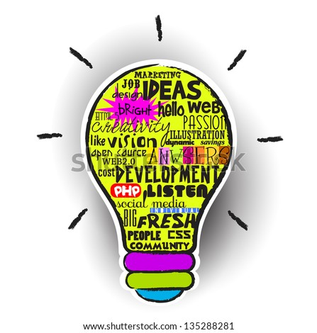 Creative idea light bulb with concept of word cloud, Vector illustration modern template design - stock vector