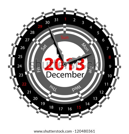 Creative idea of design of a Clock with circular calendar for 2013.  Arrows indicate the day of the week and date. December - stock vector