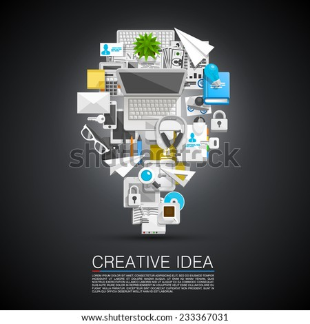 Creative idea of flat collage icons. Vector illustration - stock vector