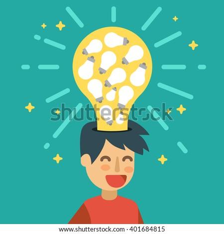 Creative idea with many light bulbs. Plenty of ideas concept illustration. - stock vector