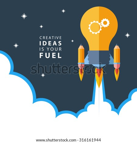 Creative Ideas Is Your Fuel Flat Design Colorful Vector Illustration Concept For Creativity Big