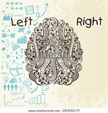 Creative illustration of a human brain showing left analytical part and blank right part. - stock vector