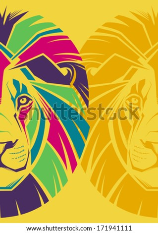 Creative illustration of a lion's head