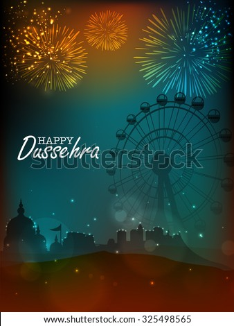 Creative illustration of a temple with big ferris wheel on firecrackers decorated night background for Indian festival, Happy Dussehra celebration. - stock vector