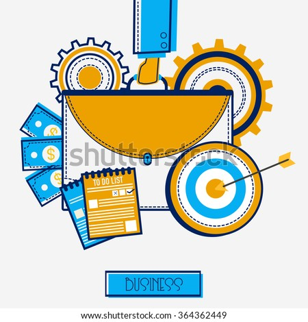 Creative illustration of businessman hand holding briefcase with different infographic elements on grey background. - stock vector