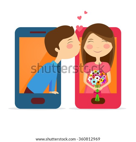 Creative illustration of cute couple in love on smartphone screen for Happy Valentine's Day celebration. - stock vector