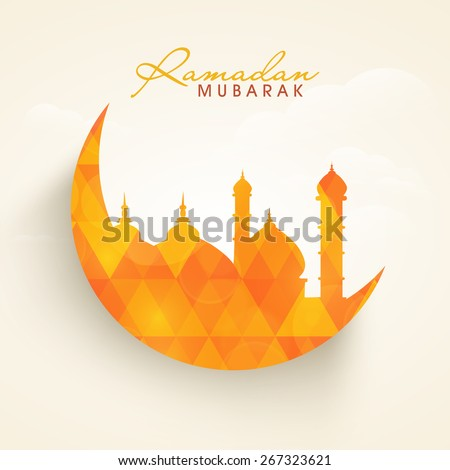 Creative illustration of islamic mosque on moon in crystal style for holy month of muslim community, Ramadan Kareem celebration - stock vector