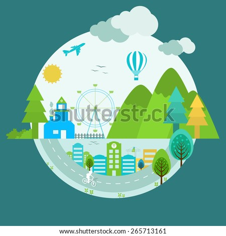Creative illustration of urban city for World Health Day concept. - stock vector