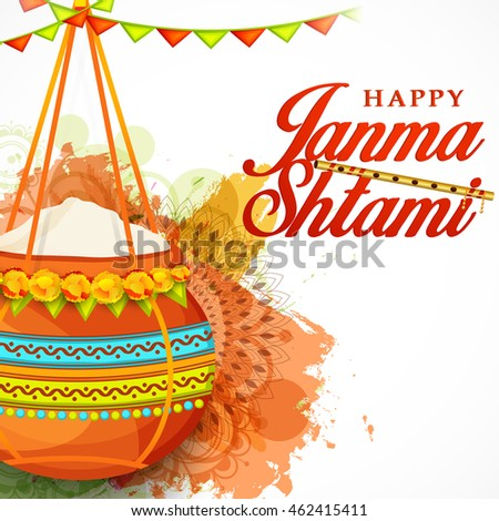 Creative illustration,poster or banner for indian festival of janmashtami celebration.