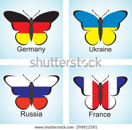 Creative image of the flags of the countries of Channel Four in the form of butterflies - stock vector