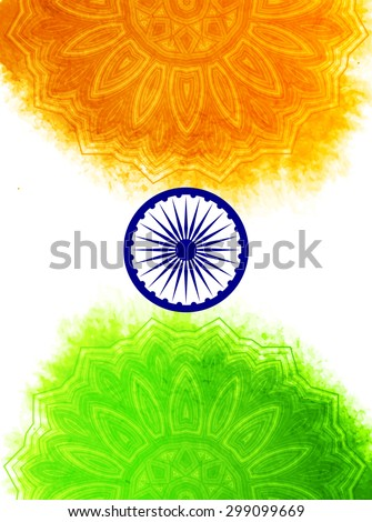 Creative Indian Independence Day concept with ashoka wheel and decorative floral pattern in national flag tricolors. - stock vector