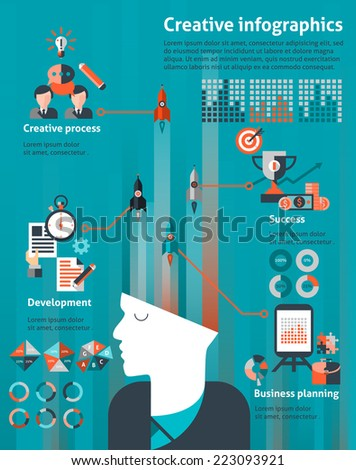 Creative infographic set with human head and business planning development success elements vector illustration - stock vector