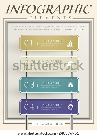 creative infographic template design with blank road sign  - stock vector