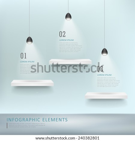 creative infographic template design with exhibition shelves - stock vector