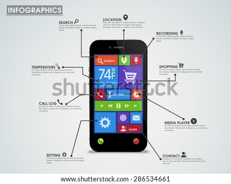 Creative infographic template layout with smartphone presentation, showing various mobile application and features. - stock vector