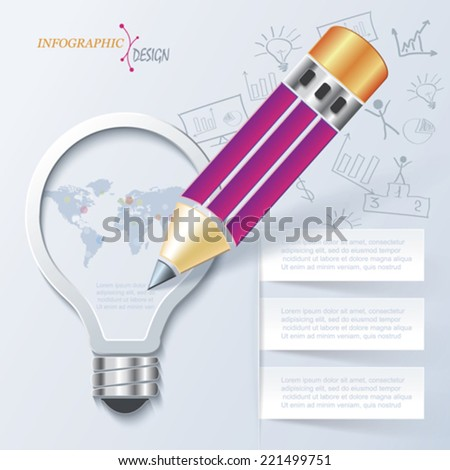 Creative infographic template with pencil and light bulb can be used for web design, presentation, education process, workflow, layout, diagram, number options - stock vector
