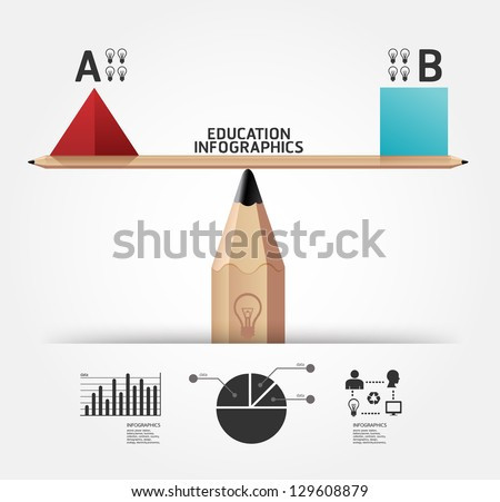 Creative infographics education pencil concept vector illustration - stock vector