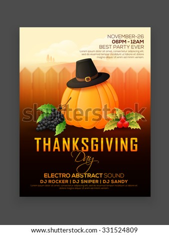 Creative invitation card design with shiny pumpkin for  Happy Thanksgiving Day celebration. - stock vector