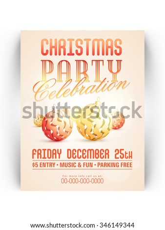 Creative Invitation Card Design With Stylish Xmas Balls For 25th December Christmas Party Celebration
