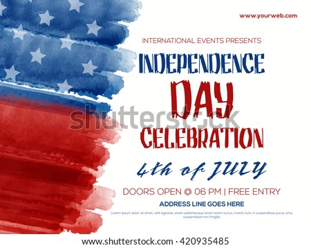 Creative Invitation Flyer decorated with blue and red brush strokes for 4th of July, American Independence Day Party celebration. - stock vector