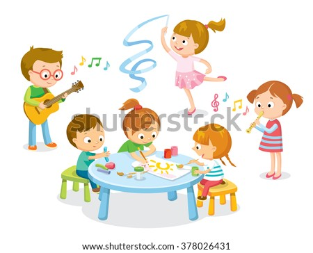 creative  kids dancing, painting, playing guitar, flute, making models from plasticine  - stock vector