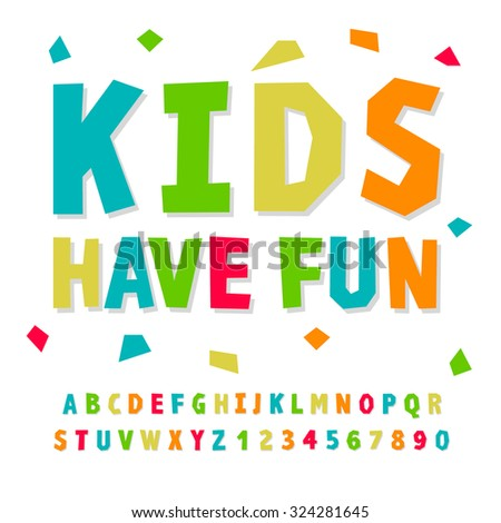 Creative kids funny alphabet and numbers, vector illustration. - stock vector