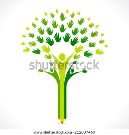 creative kids pencil hand tree design for support or helping concept vector - stock vector