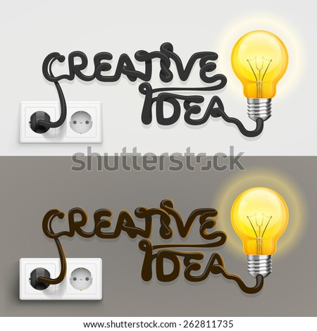 Creative lamp with cable outlet. Vector Illustration - stock vector