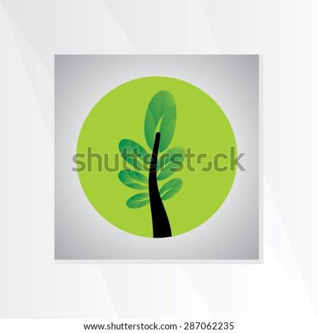 creative leaf inside of green circle vector illustration - stock vector
